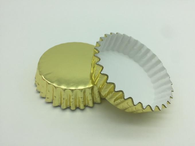 40GSM Aluminum Baking Cups , Gold Foil Mini Cupcake Liners / Holders / Wrappers