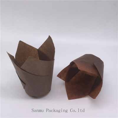 China Cake Mold Brown Tulip Cupcake Liners , Tulip Baking Papers Food Grade 4.5cm Bottom supplier