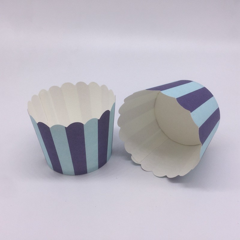 Disposable Baking Cupcakes Paper Cups Striped Cupcake Wrappers