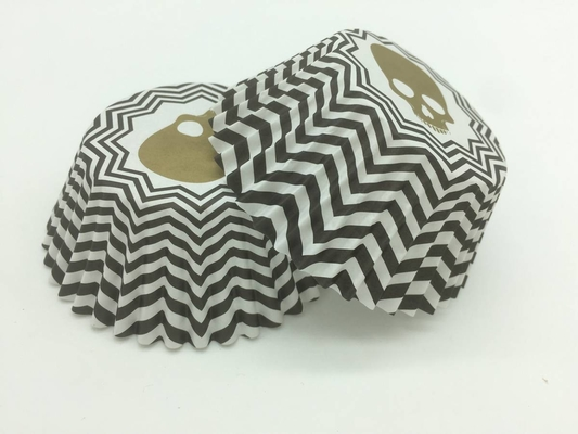 China Zombie Head Black And White Striped Cupcake Liners Single Wall Various Size distributor
