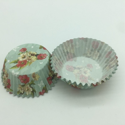 China Light Blue Paper Cupcake Holders Mold , Patterned Cupcake Liners Muffin Pastry Cup distributor