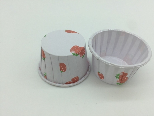 China 2 OZ Paper Baking Cups Pet Coated Strawberry Round Shape Non - Stick Customized distributor