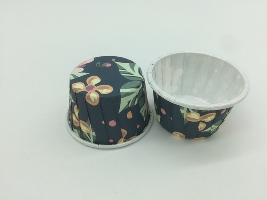 China Dark Blue PET Baking Cups Disposable Paper Souffle Cup Romantic Rose Pattern For Pastry distributor