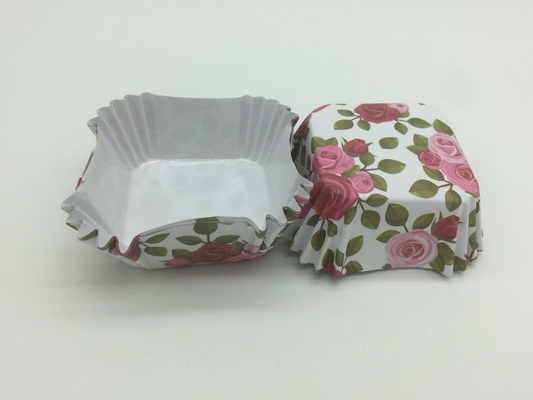 Rose Pattern Greaseproof Paper Muffin Cases , Floral Square Paper Cupcake Liners