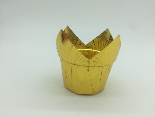 China Large Muffin Tulip Paper Cups Disposable Gold Twinkling  Baking Cupcake Holder distributor