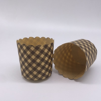 Retro Style Cupcake Baking Cups Brown Cupcake Holders Round Shape With Rolled Edge