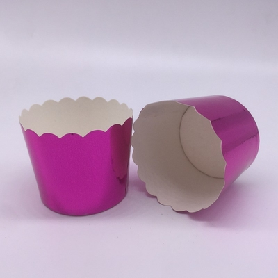 Romantic Purple Laser Cut Cupcake Wrappers , Greaseproof Foil Cupcake Cases