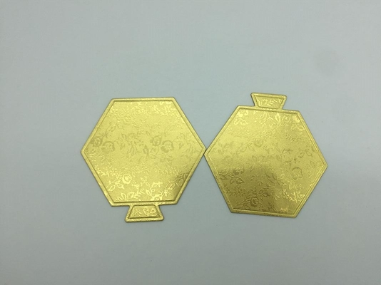 China Compressed Hexagon Cake Base Boards Gold Silver Color Cardboard For Mini Cake distributor