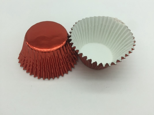 China Disposable Aluminum Baking Cups Red Color Cupcake Decoration Customized Size distributor