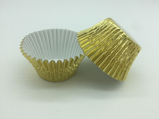 China Non Stick Aluminum Baking Cups Gold Foil Cupcake Liners Mini Sized Customized Logo distributor