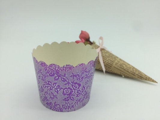 China Round Shape Aluminum Baking Cups Laser Cutting Cupcake Liners Muffin Purple Color distributor