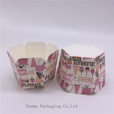 China Personalized Printed Cupcake Wrappers , Greaseproof Square Cupcake Baking Cups Bakery Set distributor